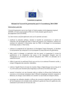 Partnership agreement between Luxembourg and the European Commission for the implementation of the European Structural and Investment Funds in the 2014-2020 funding period - Summary